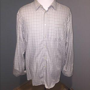 XL Van Heusen grey/white plaid dress shirt